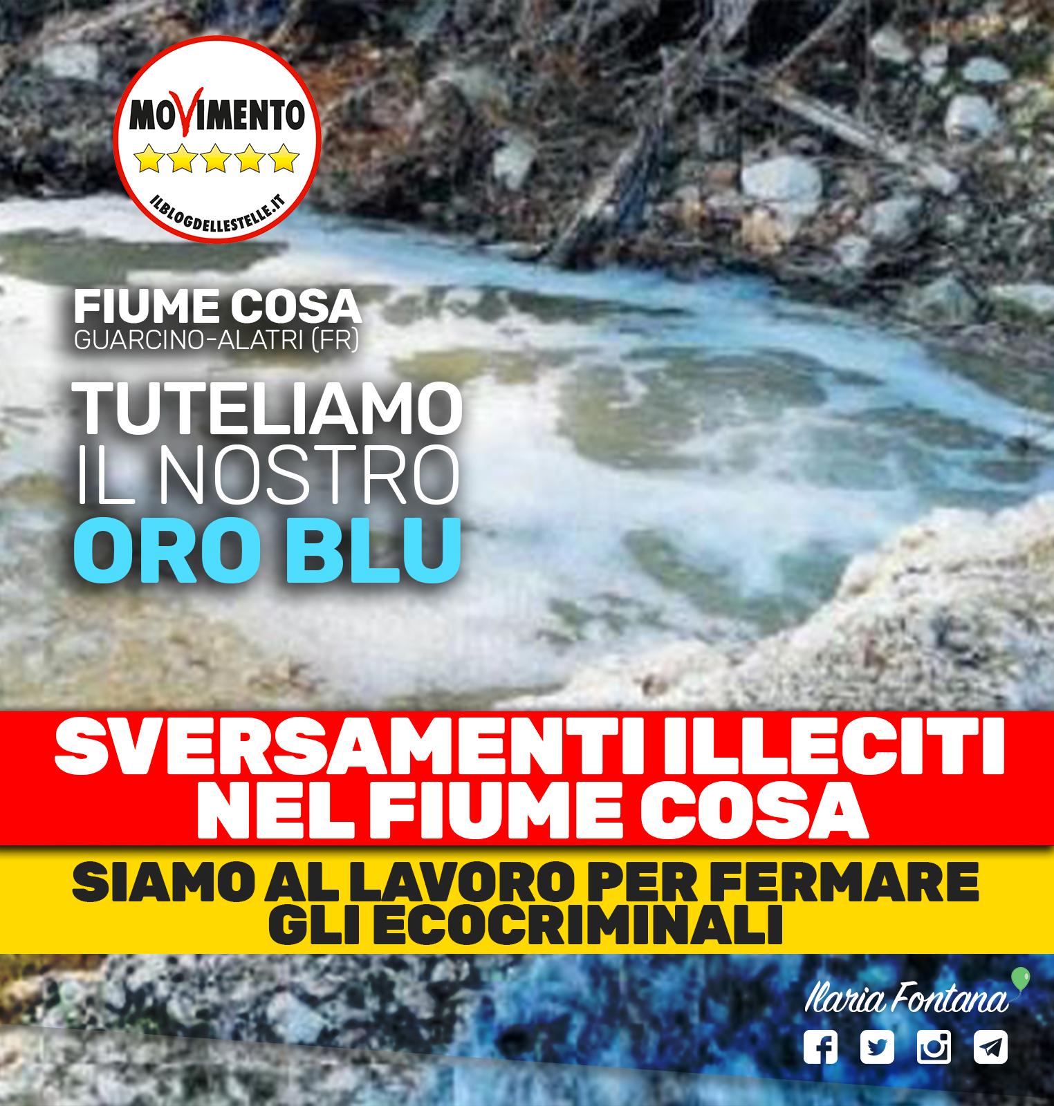 Sversamenti illeciti nel fiume Cosa, siamo al lavoro per fermare gli ecocriminali